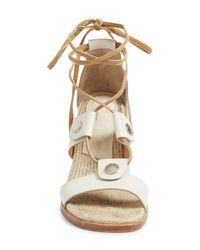 Rag & Bone - White Eden Leather Lace-up Block Heel Sandals - Lyst