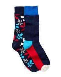 Happy Socks - Blue Combed Cotton Crew Socks - Pack Of 2 for Men - Lyst