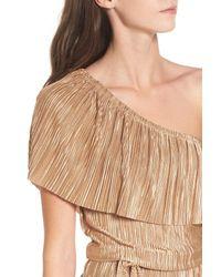 Mimi Chica - Metallic Plisse One-shoulder Romper - Lyst