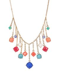 Carolee - Metallic Stone Charm Frontal Necklace - Lyst