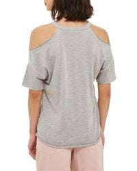 TOPSHOP - Gray Cold Shoulder Tee - Lyst