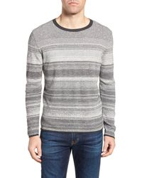 Billy Reid - Gray Contrast Trim Stripe Sweater for Men - Lyst