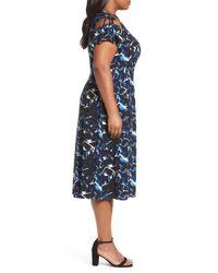 Sejour - Blue Cold Shoulder A-line Dress (plus Size) - Lyst