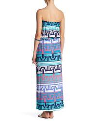 Tori Richard - Blue Erin Strapless Print Maxi Dress - Lyst
