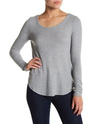 Chaser - Gray T-back Textured Knit Long Sleeve Tee - Lyst