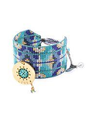 Mishky - Blue Love Note Beaded Leather Cuff Bracelet - Lyst