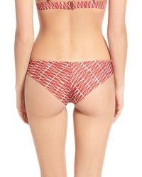 RVCA - Red Triangle Row Cheeky Bikini Bottoms - Lyst