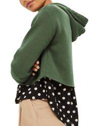 TOPSHOP - Green Crop Hoodie (regular & Petite) - Lyst