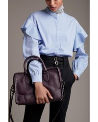 Trouvé - Blue Ruffle Shoulder Blouse - Lyst