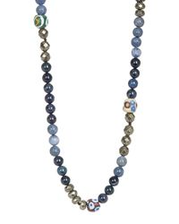 Hipchik - Blue African Painted Beaded Single Strand Necklace - Lyst