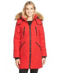 Guess | Red 'expedition' Quilted Parka With Faux Fur Trim | Lyst