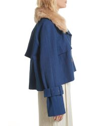 Sea - Blue Crop Trench Coat With Genuine Lamb Fur Collar - Lyst