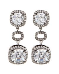 Adornia - Black Cushion Cut & Pave Halo Swarovski Crystal Accented Drop Earrings - Lyst