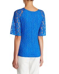 Grayse - Blue Floral Lace Sequin Tee - Lyst