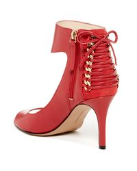 Nine West - Red Instruct Ankle Strap Peep Toe Pump - Wide Width Available - Lyst