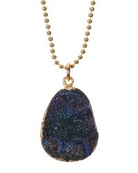 BaubleBar | Blue Druzy Ball Chain Pendant Necklace | Lyst