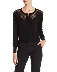 Rebecca Taylor - Black Lace Inset Cardigan - Lyst