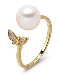 Tara Pearls - 14k Yellow Gold 7.5-8mm Akoya Cultured Pearl & Diamond Butterfly Ring - Size 7 - Lyst
