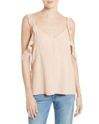 Elizabeth and James - Natural Cheryl Ruffle Cold Shoulder Top - Lyst