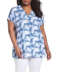 Sejour | Blue Short Sleeve V-neck Tunic Top | Lyst