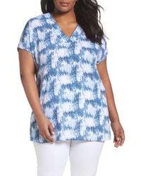 Sejour - Blue Short Sleeve V-neck Tunic Top - Lyst
