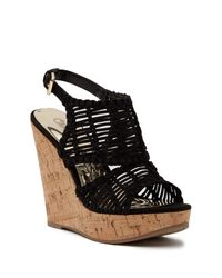Carlos By Carlos Santana - Black Bellini Wedge Sandal - Lyst