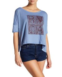 RVCA - Blue Letter Press Tee - Lyst