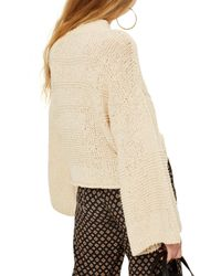 TOPSHOP - White Natural Yarn Bell Sleeve Sweater - Lyst