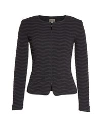 Armani - Gray Embossed Jacquard Jersey Jacket - Lyst