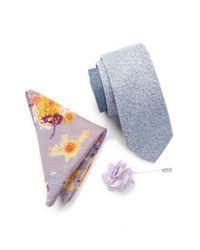 Original Penguin - Blue Jax Solid Tie, Pocket Square, & Lapel Pin Set for Men - Lyst