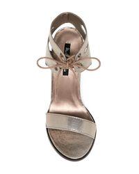 Michael Antonio - Multicolor Lines Ankle Cuff Stiletto Sandal - Lyst