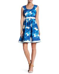 Plenty by Tracy Reese - Blue Printed Stretch Knit Dress - Lyst