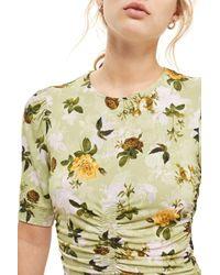 TOPSHOP - Green Ruched Floral Print Midi Shift Dress - Lyst