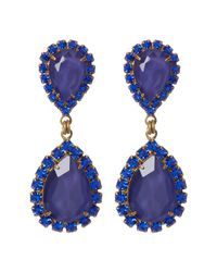 Loren Hope - Blue Abba Pave Marquise Cut Stone Drop Earrings - Lyst