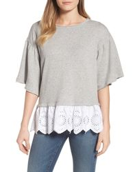 Caslon - Gray (r) Twofer Sweatshirt (regular & Petite) - Lyst