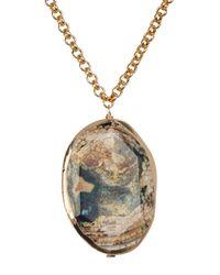 Nest - Metallic Green Agate Pendant Necklace - Lyst