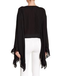 Haute Rogue - Black Flare Sleeve Tie Crop Top - Lyst