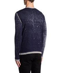 Autumn Cashmere - Blue Inked Contrast Crew Neck Shirt for Men - Lyst