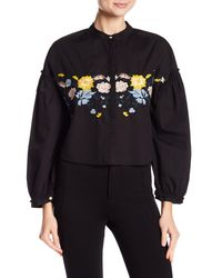 Love, Fire - Black Embroidered Ruffle Blouse - Lyst
