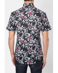 7 Diamonds - Black 'ignition' Trim Fit Short Sleeve Print Woven Shirt for Men - Lyst