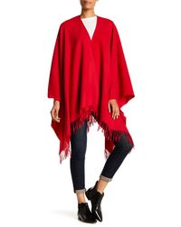 Moschino | Red Fringed Wool Cape | Lyst