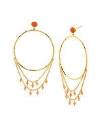 Gorjana - Metallic Sol Gemstone Drape Front Facing Hoop Earrings - Lyst