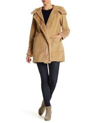 DKNY   Natural Hooded Faux Fur Wool Blend Coat   Lyst