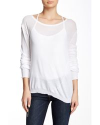 INHABIT - White Twisted Scoop Neck Tee - Lyst