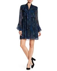 Laundry by Shelli Segal - Blue Long Sleeve Printed Ruffle Dress - Lyst