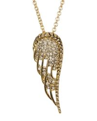 House of Harlow 1960 - Metallic Embellished Angel Wing Pendant Necklace - Lyst