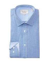 Ted Baker Blue Geo Endurance Trim Fit Dress Shirt for men