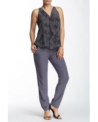 Rebecca Taylor   Multicolor Silk Blend Twill Belted Pant   Lyst