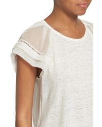 Rebecca Taylor - White Pleat Short Sleeve Mixed Media Top - Lyst