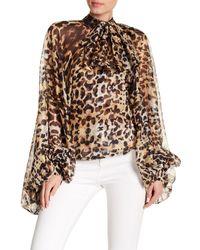 Haute Rogue - Multicolor Cheetah Bishop Sleeve Top - Lyst
